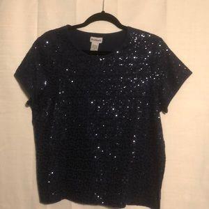 Navy blue Bon Worth sequin blouse size SP